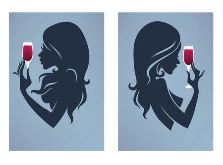 vector girl silhouettes on grey background