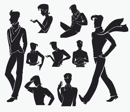 vector collection of fashionable man images Vector
