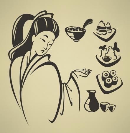 sake: colecci�n de vectores de s�mbolos de los alimentos y emblemas