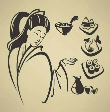 asiatic: vector collection of food symbols and emblems