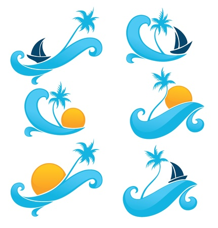 wave crest: vector collection of summer symbols