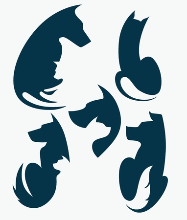 sit stay: vector collection of domestic animals silhouettes