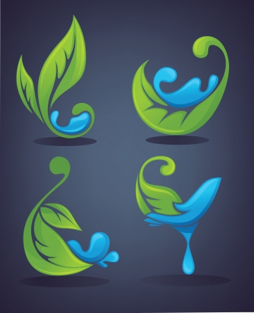 leaf water drop: vector collection fo ecology symbols