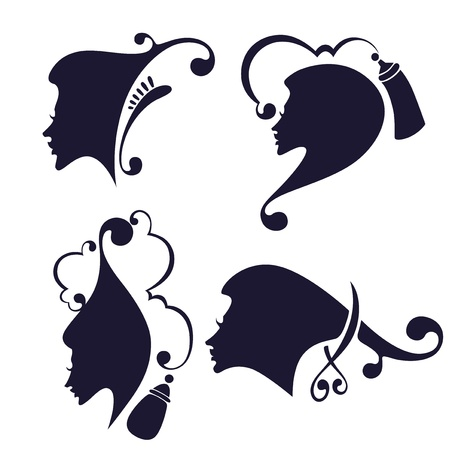 hair spray: vector collection of woman heads symbol Illustration