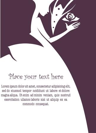 c�r�monie mariage: vecteur carte de voeux Illustration
