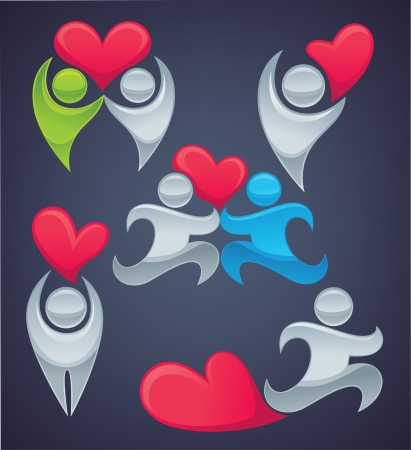 abstract family: vector collection of love concepts