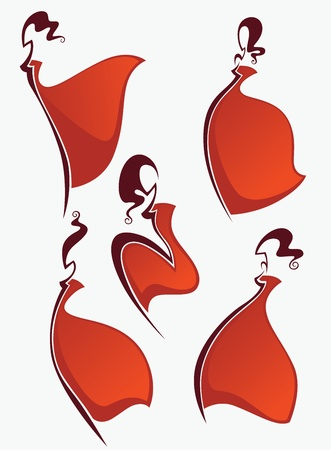 girl in red dress: wuman stylized images