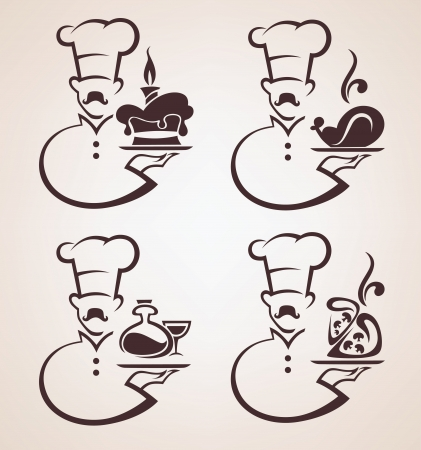 vector collection of service and food emblems