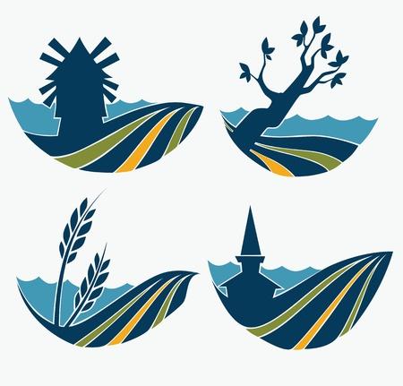 molino de agua: colección de vectores de paisaje y la naturaleza emblemas Vectores