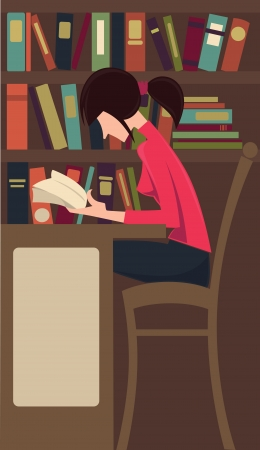 studing: reading and studing girl Illustration
