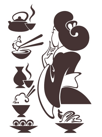 food and woman images Stock Illustratie