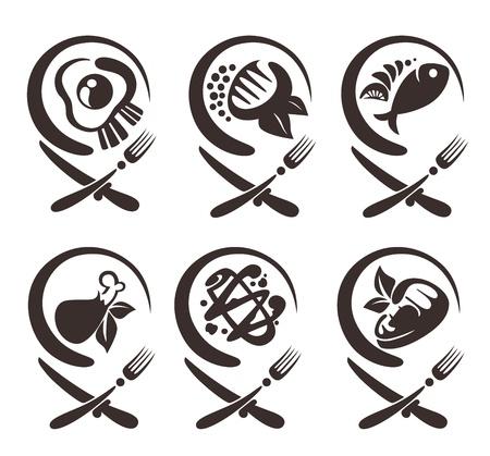 vecteur de collecte de symboles alimentaires Illustration