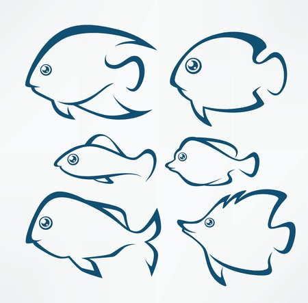 deep sea fishing: vector set of  signs, symbols and emblems