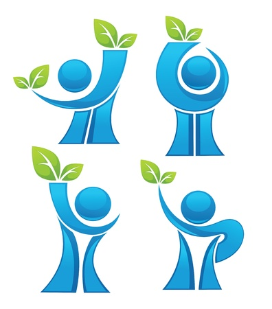 environment protection: symbols, emblems and icons Illustration