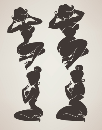vector collection woman silhouettes