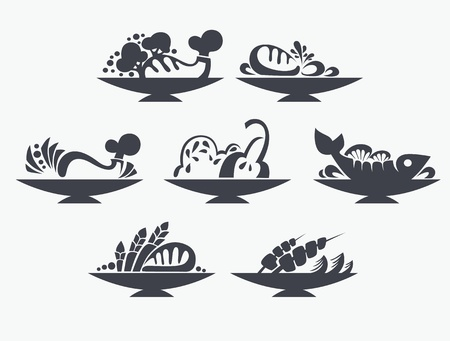 fish steak: food symbols and signs