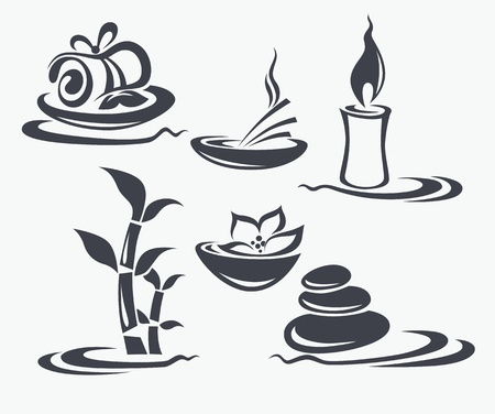 aroma therapy: vector collection of signs, symbols and silhuettes