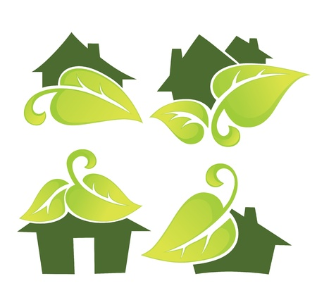 green roof: home and houses collection Illustration