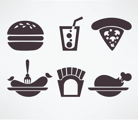 gourmet burger: fodd silhouettes and symbols
