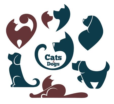 silhouette chat: vecteur de collecte des animaux symboles Illustration