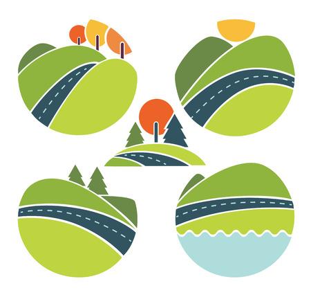 turismo ecologico: colección de vectores de paisaje, de viaje y de la naturaleza símbolos Vectores