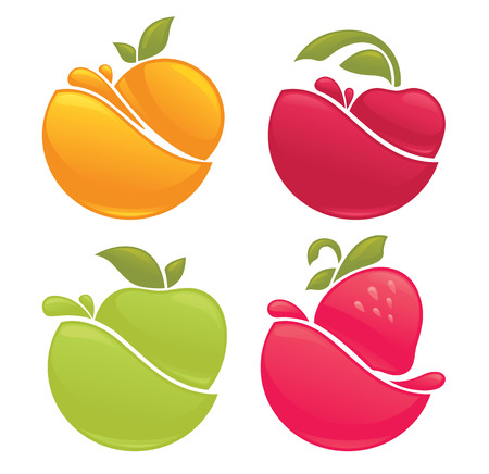 apple juice: vector collection of stickers and emblems