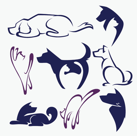 cat drawing: animal symbols and emblems Illustration