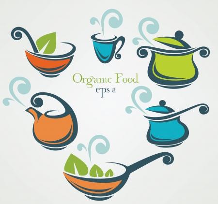 soup spoon: vector collectie van kookgerei Stock Illustratie