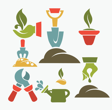 vector collection of gardening symbols Vector