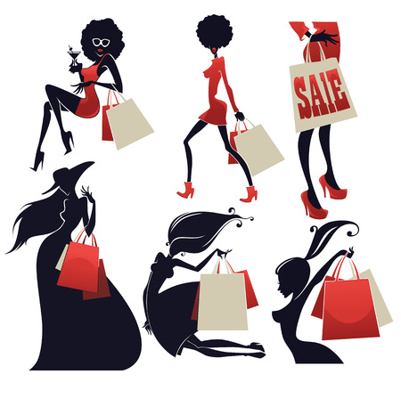 happy shopper: large vector people collection