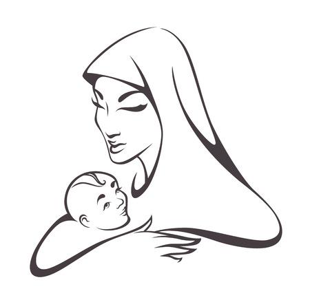 성모 마리아와 아기의 벡터 이미지