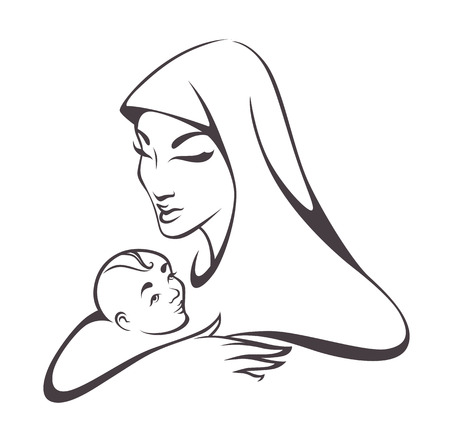 virgin mary: vector image of virgin Mary and baby Illustration