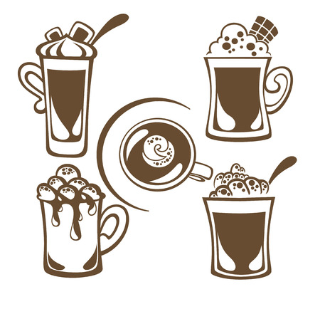 vector collection of hot drinks Vector