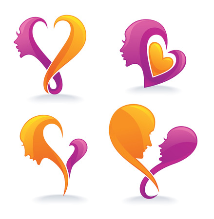 clip art women: vector collection of love symbols, signs and forms