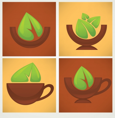 icons and emblems of organic food and drink Vector