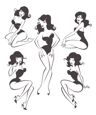 pinup girl:  woman images Illustration
