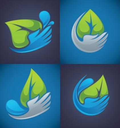leaf water drop: design elements, emblems, signs and icons on dark  Illustration