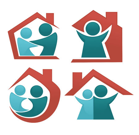 people and homes symbols Vector