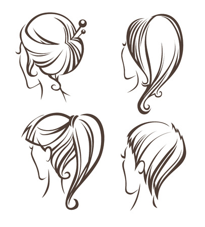 hairstyling: vector collection of women head images Illustration