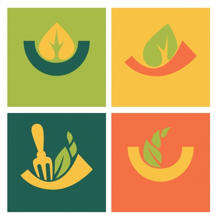 vector collection of eco food icons Vector