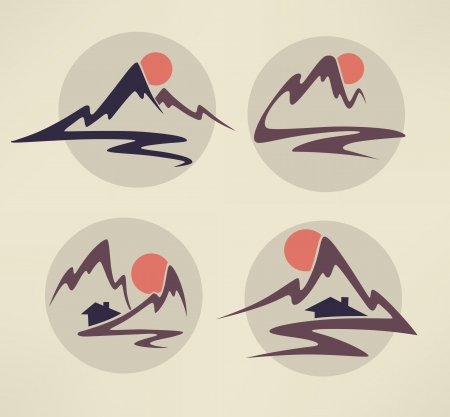 mountain holidays: vector icons and emblems