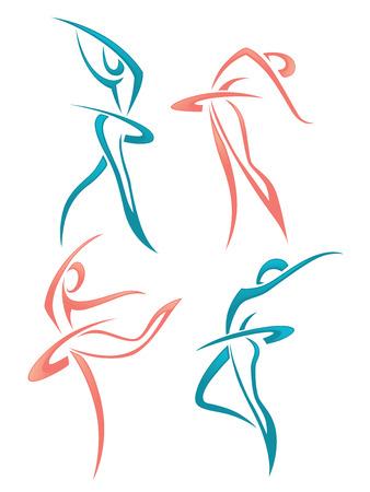 vector verzameling van abstracte vrouwenbeelden Stock Illustratie
