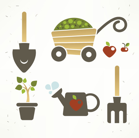 country life: childish symbols and icons, vector collection Illustration