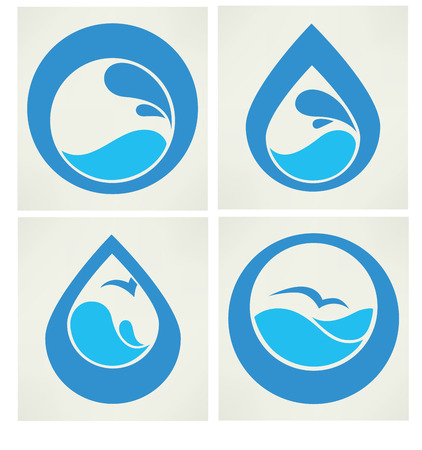 waves: vector collection of water stickers