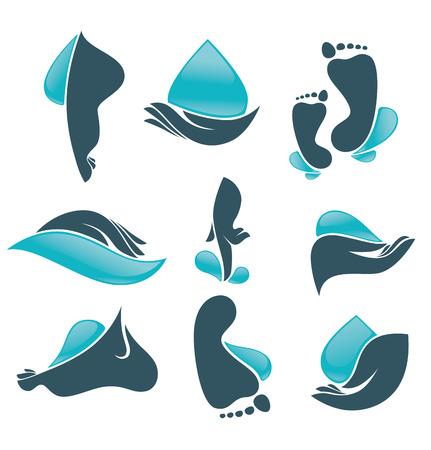 vector verzameling van schone vrouwen handen en voeten en schoon water