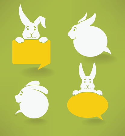 animals outline: white Easter rabbits silhouettes on green background, look like speech bubbles