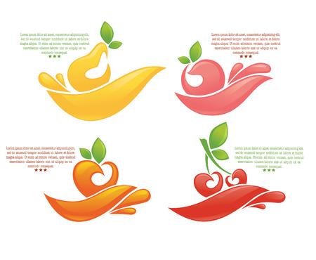 drop: colección de vectores de pegatinas de jugo y frutas símbolos para el texto Vectores