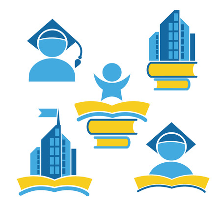 college students on campus: vector collection of reading symbols, books, studying and education