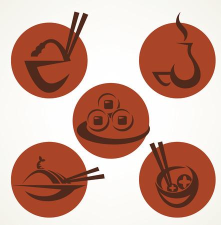 japanese sake: colección de vectores de símbolos del menú japonés