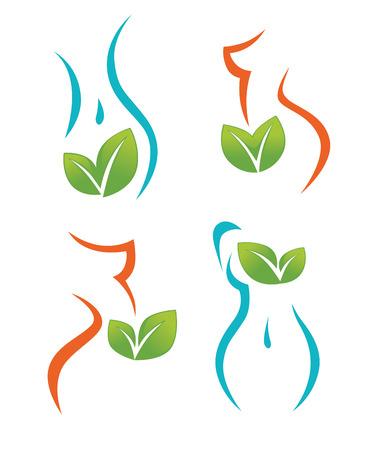 gezondheid, schoonheid en voeding symbolen, emblemen en iconen Stock Illustratie
